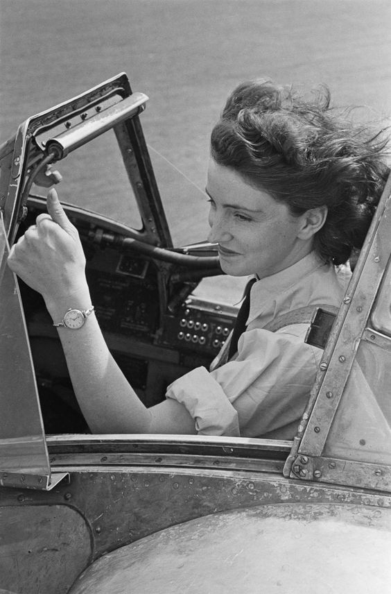 First Officer Maureen Dunlop  of the ATA (Air Transport Auxiliary), in the cockpit of a Fairey Barracuda torpedo bomber,