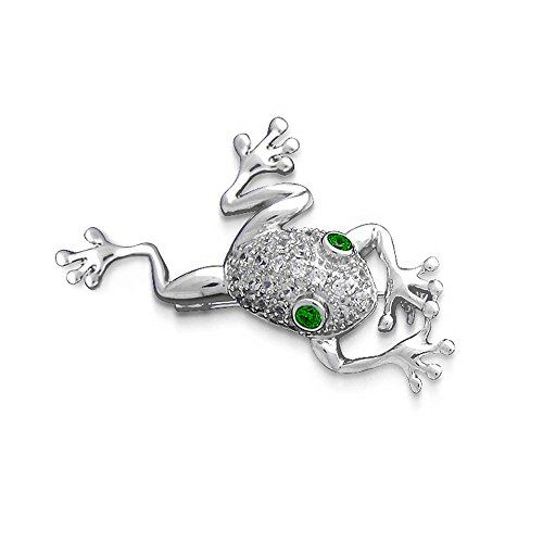 Bling Jewelry 925 Silver Frog Simulated Emerald CZ Eyes Pin Brooch -- Check out this great product.