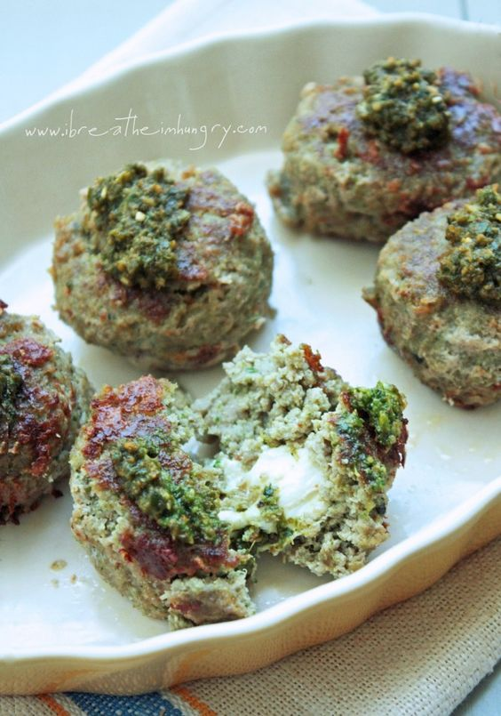 Mozzarella Stuffed Turkey Pesto Meatballs (low carb and gluten free ...