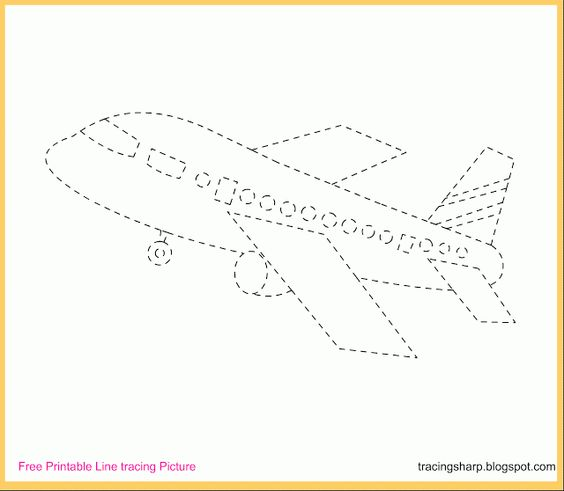 Free Tracing Line Printable: Aeroplane Tracing Picture ...