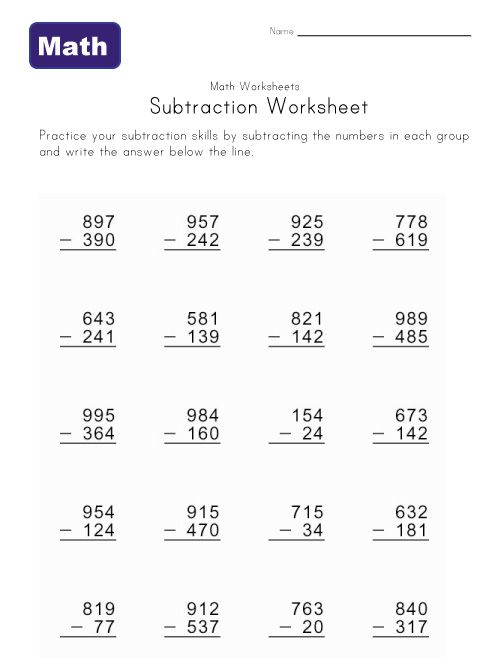 math worksheet : subtraction with regrouping worksheets 4 digit  column  : 4 Digit Subtraction Worksheet