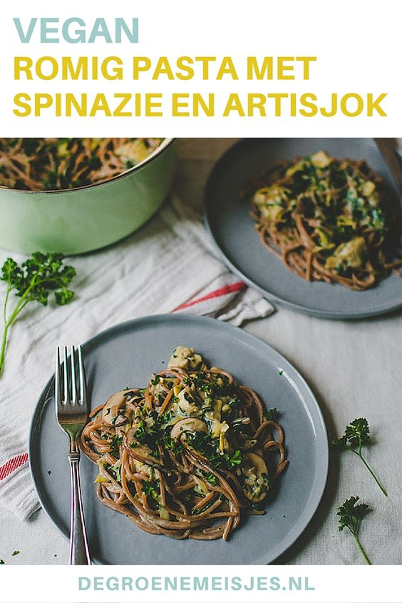 Deze romige pasta met spinazie, champignons en artisjok is 100% plantaardig, vegan, makkelijk en ontzettend lekker. Lees het recept op de blog voor dit ultieme comfort food.