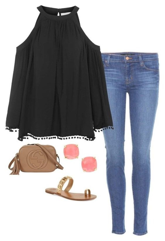 """dinner date"" by helenhudson1 ❤ liked on Polyvore featuring J Brand, Topshop, Kate Spade, Tory Burch and Gucci"
