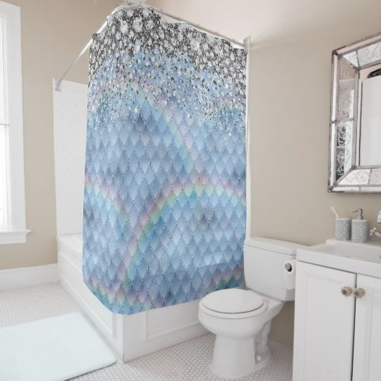 Glam Faux Silver Jeweled Blue Dragon Scales Shower Curtain