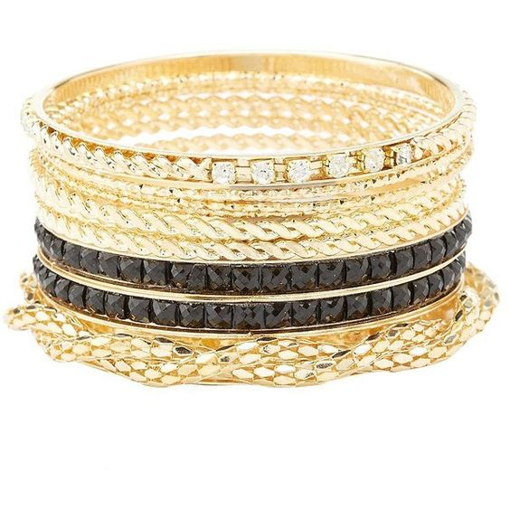 Charlotte Russe Textured Chain Bangle Bracelets - 10 Pack (€5,27) ❤ liked on Polyvore featuring jewelry, bracelets, gold, stacking bangles, bangle bracelet, charlotte russe jewelry, bracelets bangle and bangle jewelry