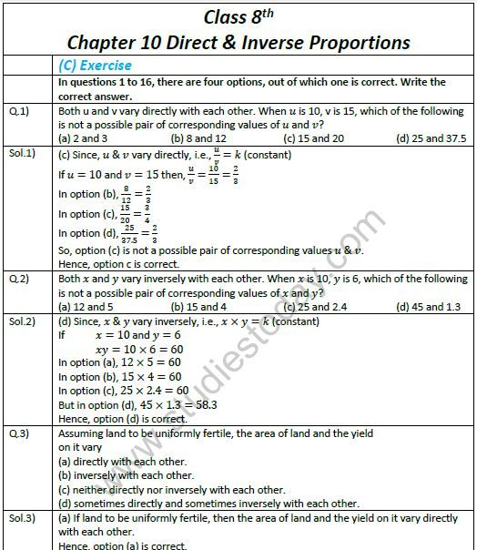 Direct And Inverse Proportion Class 8 Worksheets Pdf Proportions Worksheet Multi Step Equations Worksheets Teaching Algebra