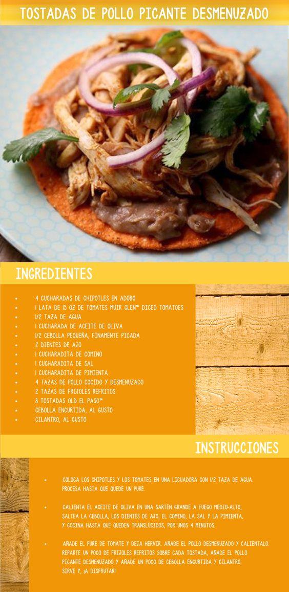 El pollo desmenuzado puedeagregar sabor a cualquiercomida. ¡Prueba estas tostadascon esta receta fácil!