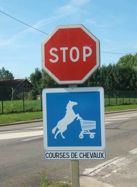 Attention ralentir, courses de chevaux.