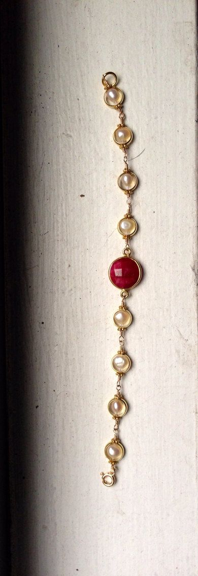 Ruby and Pearl Circles Bracelet on Etsy, $105.00