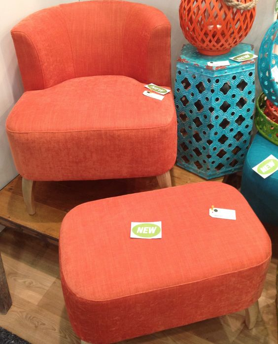 Nordic Style Chair & Ottoman - Orange – Allissias Attic & Vintage French Style