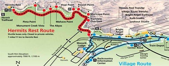 Map Of Hermit Road Hermits Rest Shuttle Bus Route Grand