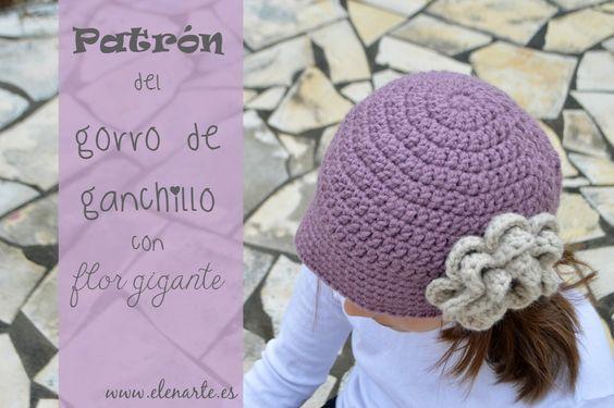 Patrón gorro de ganchillo con flor   Crochet   Pinterest   DIY y ...