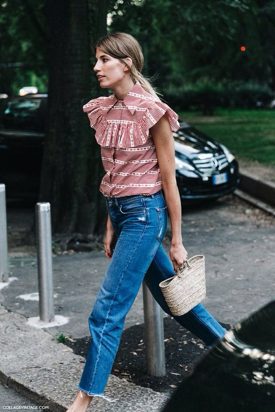 Jeans, basket and THAT blouse: