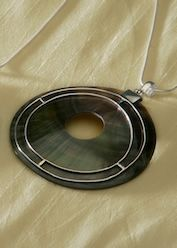 Hippy Pendant~Large Shell Pendant with Silver Circle Design~Fair Trade by Folio~PD180