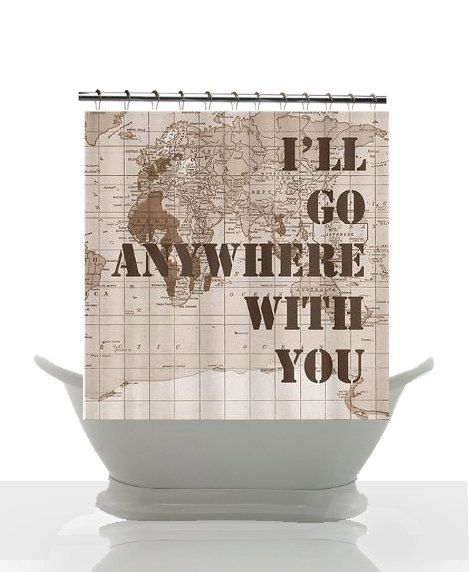 vintage map shower curtain military family quote home decor travel bathroom
