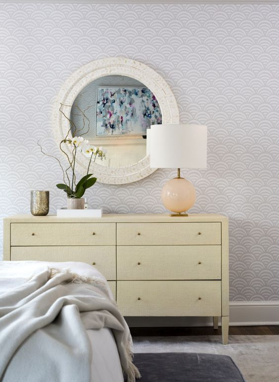 Ella Scott Design | Modern Cottage | modern master bedroom dresser shell mirror