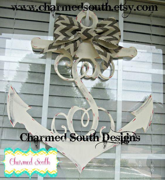 Wood anchor monogram door hanger beach decor by for Anchor door decoration