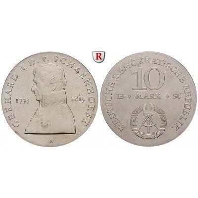 DDR, 10 Mark 1980, von Scharnhorst, st, J. 1577: 10 Mark 1980. von Scharnhorst. J. 1577; stempelfrisch 30,00€ #coins