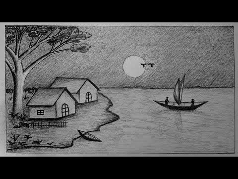 How To Draw Moonlight Night With Pencil Step By Step Youtube Landscape Pencil Drawings Pencil Drawings Of Nature Drawing Scenery