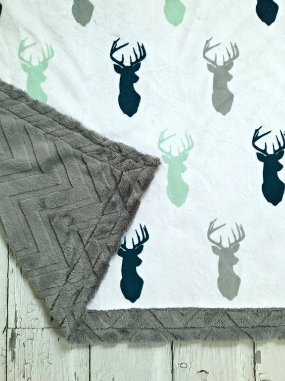 Deer Baby Blanket Designer Minky Mint Navy Grey by CorkysQuilts