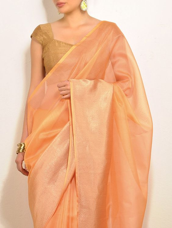 Peach Silk Saree. Love this soothing color!