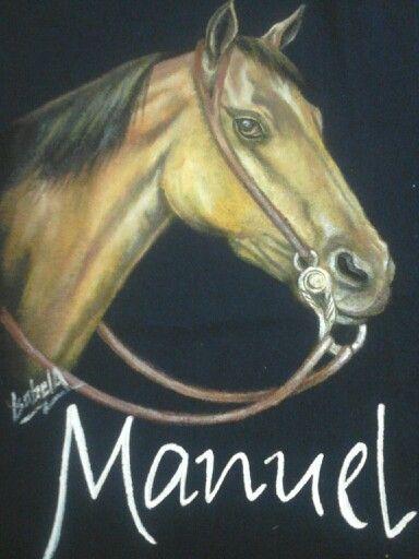 Imagen de cabeza de caballo pintada a mano.,Isabel Almeida