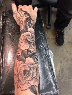 lower sleeve flower tattoos - Google Search