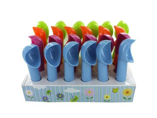 """Bulk Pack of 24 - Novelty icec ream scoop display (Each) By Bulk Buys by Bulk Buys. $35.52. The novelty ice cream scoop comes in a cheery color assortment making them a fun addition to kitchens! Scoops can also be used for making melon balls, filling cupcake liners and cleaning pumpkins. Colors include neon green, blue, magenta and bright orange. Comes packaged in a countertop display. Each display comes with 24 pieces. Scoops measure 7"""" long with a 1 3/4"""" x 2 ..."""