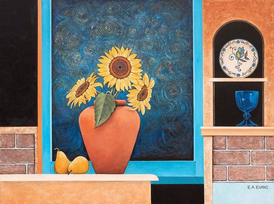 Elizabeth Evans. Sunflower And Pears