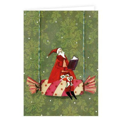 """Klappkarte mit Glitzer """"Weihnachtsmann auf Bonbon"""" von Silke Leffler"""