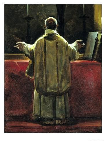Giclee Print: Priest at the Altar Art Print by Francois-Marius Granet by Francois-Marius Granet : 24x18in
