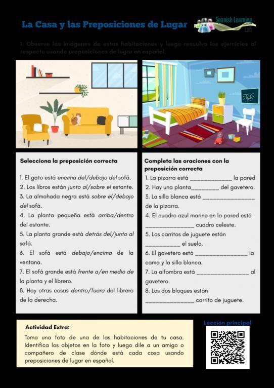 La Casa Adverbes De Localisation Teacherresources Teacher Resources Spanish Teacher Resources Preposition Of Place Prepositions Learning Spanish