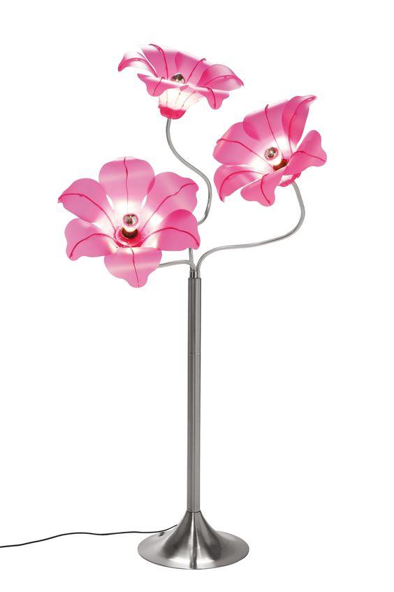 KARE Design Stehleuchte SL Bloom Pink mit pinkfarbenen Blütenschirmen und Flexarmen für eine individuelle Gestaltung, aus vernickeltem und verchromtem Eisen und Schirmen aus Polypropylen, ausgelegt für maximal 60 Watt. #KARE #KAREDesign