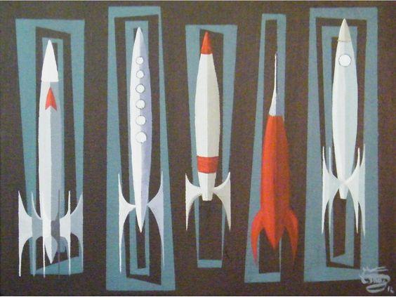El Gato Gomez Painting Mid Century Modern Space Rockets