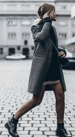 Jacqueline Mikuta + elegant yet casual fall style + tweed coat + fishnet tights + pair of buckled leather boots + ideal for those everyday fall mornings.   Coat: Sezanne, Sweater/Skirt/Tights: H&M, Boots: Saint Laurent.: