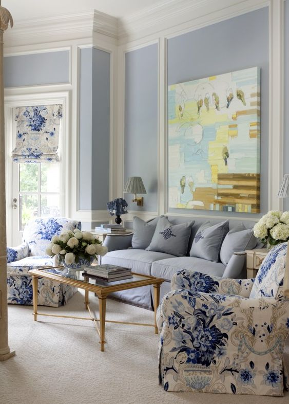 Love the fabric on the chair and shade and the artwork too. (Toby Fairley design):
