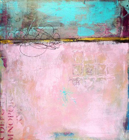 Original abstrakte Malerei, Acrylbilder, moderne Kunst, Türkis rosa gold rose schwarz malen, RENDEZVOUS