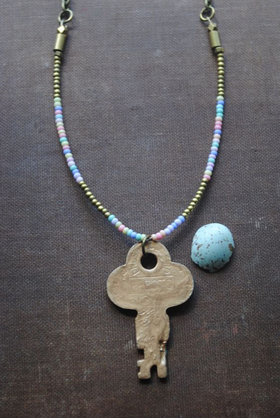 """""""Soul Key"""" Vintage Key Necklace  Mint Green and Gold Key by ArcaneMemory  Reversible necklace, key is mint green on one side and gold on the other."""