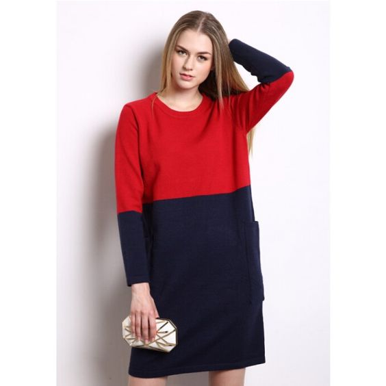 O-Neck Multi Color Matching Women Sweater Dress One Size Fits All