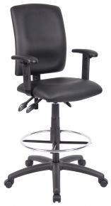 Leather Office Chairs: Black Upholstered Leatherplus Multi Function Drafting Stool with Adjustable Arms: B1646 – BOSS – Vista Stores @$171.99