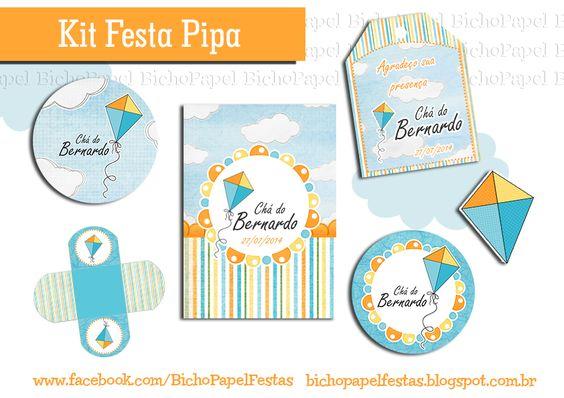 Kit Festa Pipa laranja azul amarelo