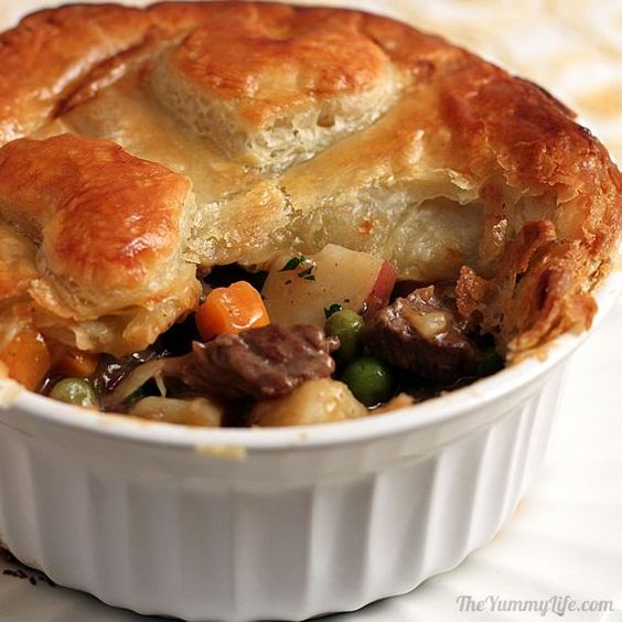 Individual English Beef Pot Pies with Puff Pastry - comfort food!