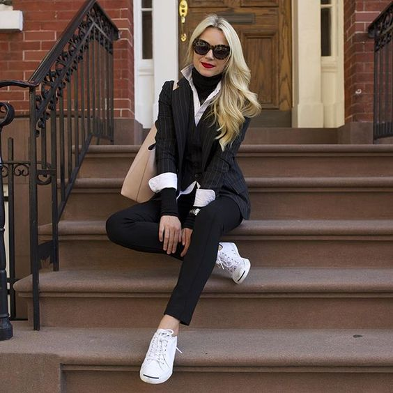 Our style mantra this fall? Sophisticated with a twist. Blogger @blaireadiebee's spin is spot-on—casual white sneaks paired with more buttoned-up picks from partner @POLORALPHLAUREN. What's your fashion M.O. now that September's hit? Tell us below.