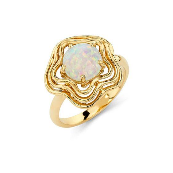 14K Gold Circle Opal Ring, Opal Ring, Gold Ring, Fancy Ring, Fancy Jewelry, Opal Jewelry, Gold Jewelry, Opal
