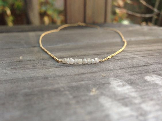 Raw Diamond Bead Bar Necklace in 14K Gold-Fill, Sterling Silver, or 14K Rose Gold - 16 or 18 inches