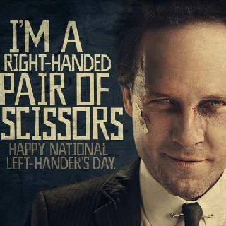 """My left-handed son's reply: """"Suck it, Mayhem I mastered right-handed scissors over 20 years ago!"""" LOL!!: Left Handed In, Handed Son S, Lefty Land, Funny Sayings, Left Handedness, Handed Scissors, Left Handers, Lefties Rule, Left Handed Awesomeness"""
