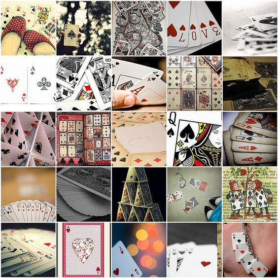 """Inspiration to play to keep up mental acuity: """"Playing cards mosaic,"""" by Raincloud☁, via Flickr -- Click through for links to each photo."""