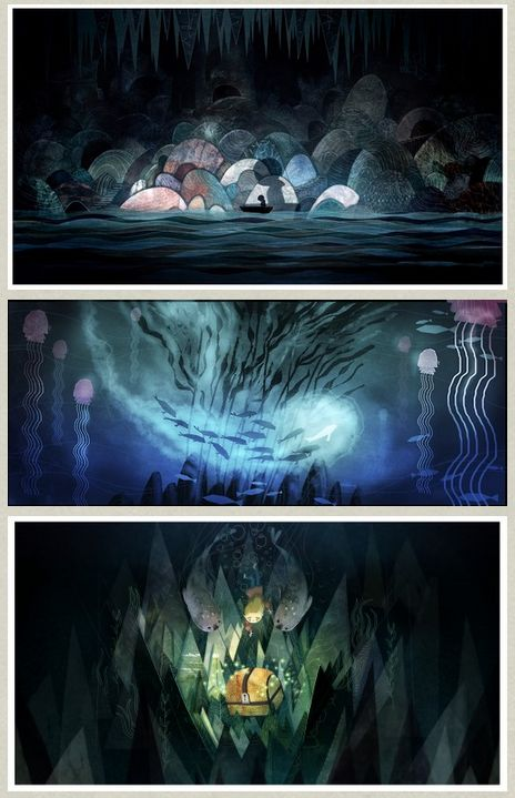 Beautiful Concept Art from the Academy Award Nominated Animation Studio Cartoon Saloon for the upcoming film Song of the Sea. Artwork by Art Director Adrien Merigeau – rough layouts by Tomm Moore and character designs by Tomm Moore and Marie Thorhauge.:
