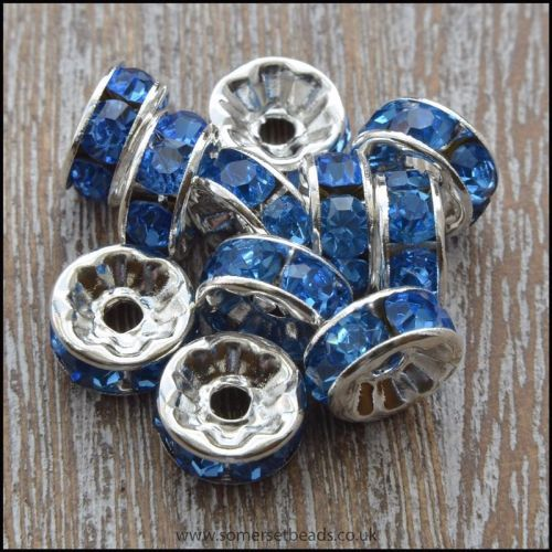 8mm Blue Rhinestone Rondelle Spacer Beads