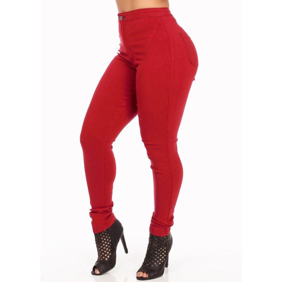 Red One Button High Waist Skinny Jeans ($25) ❤ liked on Polyvore